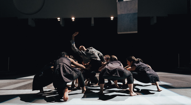 Shareen DeRyan  center  with ensemble in Kristin Damrow's Impact. Photo by Robbie Sweeny