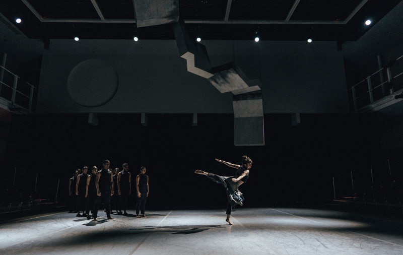 Anna Greenberg with ensemble in Kristin Damrow's Impact. Photo by Robbie Sweeny